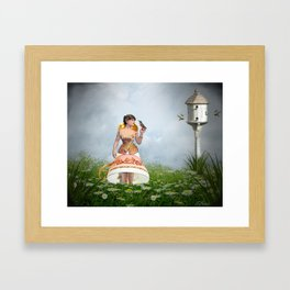 Tea Time With The Hummingbirds Framed Art Print