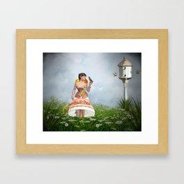 Tea Time With The Hummingbirds Framed Art Print