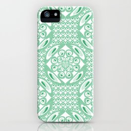 Mint green pattern iPhone Case