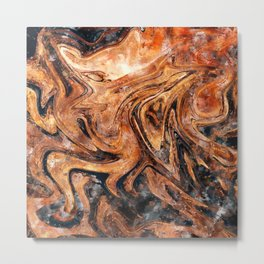 Brown marble watercolor Metal Print