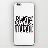 outlander iPhone & iPod Skins featuring Slainte Mhath Gaelic toast by Fortissimo6