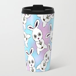 Cute Bunny with Coffee Frappe on Pink Blue Haze Travel Mug