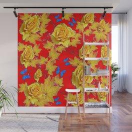 GOLDEN YELLOW ROSES & LEAVES RED GARDEN ART Wall Mural