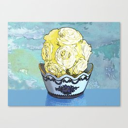 Vase of Yellow Roses Canvas Print