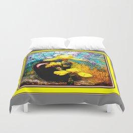 Yellow-Grey Iris  Dark-Redish Vase Still Life Ar Duvet Cover