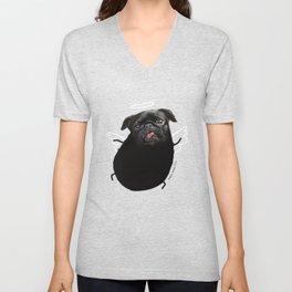 Black Angel Pug Unisex V-Neck