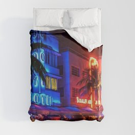 South Beach Miami Portrait in Colorful Time Lapse Paint by Jeanpaul Ferro Duvet Cover
