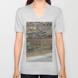 Beach landscape France: The ancient seaside resort architecture of Biarritz with its Belle Époque ritzy charme and glamourous vibe along the Grand Plage at stormy weather Unisex V-Neck