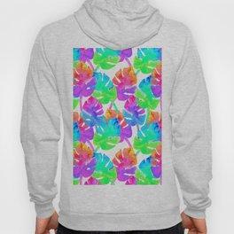Watercolor Monstera Leaves in Neon Rainbow + White Hoody