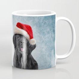 Drawing, illustration Dog Newfoundland in red hat of Santa Claus Coffee Mug