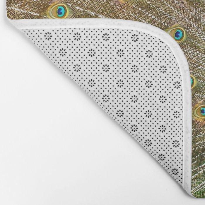 Peacock Spreading Feathers Bath Mat