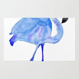 Blue Watercolor Flamingo Rug