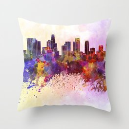 Los Angeles skyline in watercolor background Throw Pillow