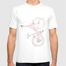 Pink Bike White Mens Fitted Tee MEDIUM