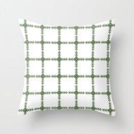 Arrows Grid Pattern - Kale Throw Pillow