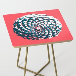 pine cone pattern in coral, aqua and indigo Side Table