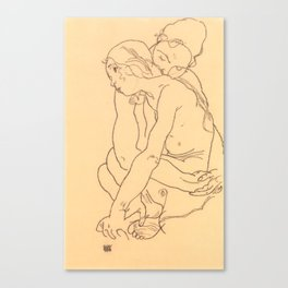 "Egon Schiele ""Woman and Girl Embracing"" Canvas Print"