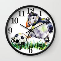 football Wall Clocks featuring Football by Anna Shell