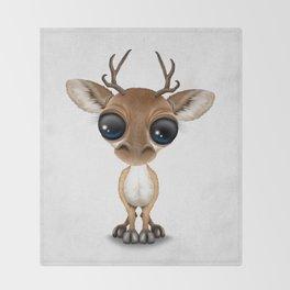 Cute Curious Baby Deer Calf with Big Eyes Throw Blanket