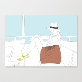 Fashion Girl on the Ferry Canvas Print