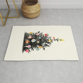 Retro Decorated Christmas Tree Rug