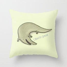 Croco-Smile Throw Pillow