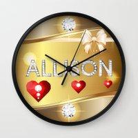 allison argent Wall Clocks featuring Allison 01 by Daftblue