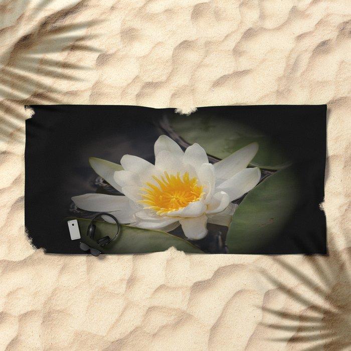 White Waterlily On A Dark Background #decor #society6 Beach Towel