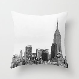 The New York Cityscape City (Black and White) Throw Pillow