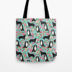 Bernese Mountain Dog pet portrait dog art illustration fur baby dog breed floral gift for dog lover Tote Bag