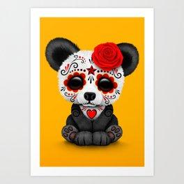Red Day of the Dead Sugar Skull Panda Art Print