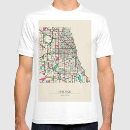 Colorful City Maps: Chicago, Illinois T-shirt