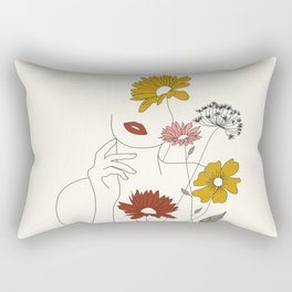 Colorful Thoughts Minimal Line Art Woman with Flowers III Rectangular Pillow