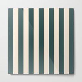 2021 Bi Colour Lines Pattern : Tidewater green and Set Sail Champagne Metal Print