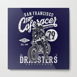 Caferacer Vintage Motorcycle Typography Metal Print
