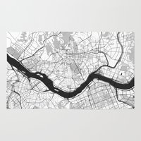 seoul Area & Throw Rugs featuring Seoul Map Gray by City Art Posters