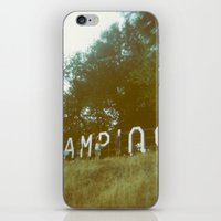 camping iPhone & iPod Skins featuring Camping by AmyLange