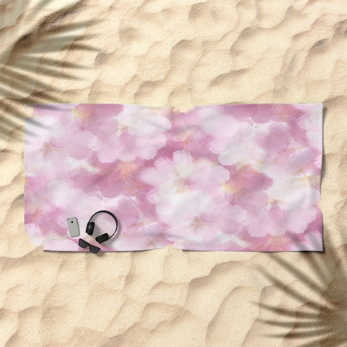 Painted Flowers Abstract Beach Towel