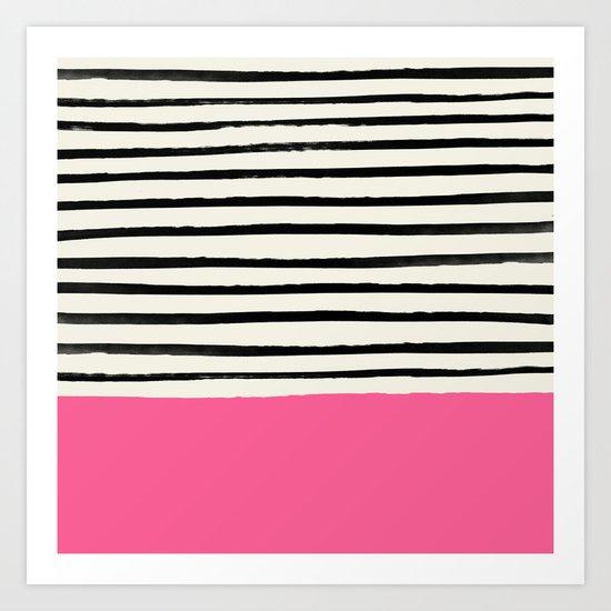 Watermelon & Stripes Art Print