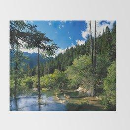 Mountain Forest Lake Throw Blanket