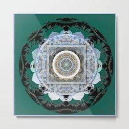 Deep Teal Tibetan Healing Mandala Hybrid Spanish Boho Stamp Metal Print