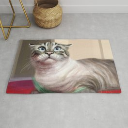Cat Surprised Funny Animals with Feather Siamese Lynx-Point Rug
