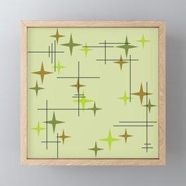 Mid Century Modern Stars Chartreuse Framed Mini Art Print