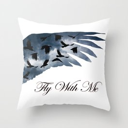 Black Birds Crow Flying Clouds Wing Contemporary Modern Art A456 Throw Pillow