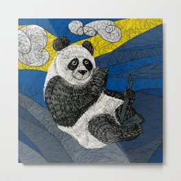 Panda on a Tree Metal Print