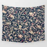 bedding Wall Tapestries featuring Navy Garden - floral doodle pattern in cream, dark red & blue by micklyn