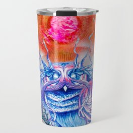 """G0d king owl"" animal art , bird art . Surrealism Travel Mug"