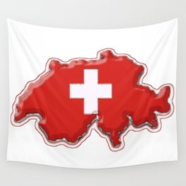 Switzerland Map with Swiss Flag Wall Tapestry