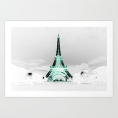 pariS Black & White + Mint Art Print