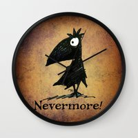 edgar allen poe Wall Clocks featuring Nevermore! The Raven - Edgar Allen Poe by Paul Stickland for StrangeStore